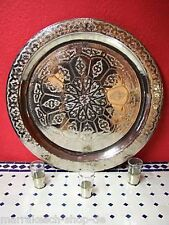 Arabian Oriental Moroccan Morocco Brass Handcrafted Engraved Serving Tea Tray 60