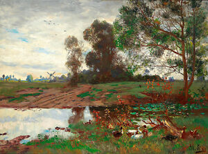 Ducks by the Pond by Adolf Lins 75cm x 55.8cm Canvas Print