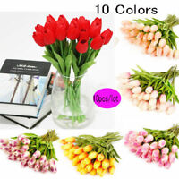 10X Artifical Real  Tulips Flower Bouquet Wedding Brith Party Home Decor #5