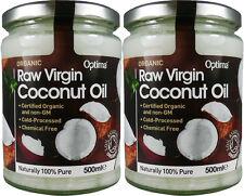 2 Huile Noix De Coco Vierge Biologique Brut - 2 Pots = 1000 ml - Optima