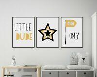 Set of 3 Little Dude Kids Only Yellow & Black Prints Nursery Boys Room Wall Art