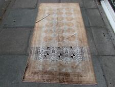 Old Traditional Hand Made Persian Oriental Faded Brown Silk Rug 181x100cm