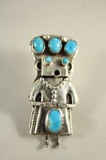 Vintage Sterling Silver Turquoise Kachina Dancer Pin