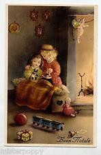 Bambini Giocattoli bambola Buon Natale Illustratore Italiano PC Circa 1930