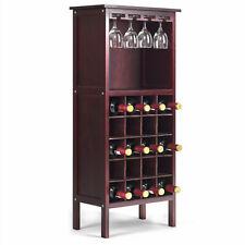 Wine Storage Cabinet Wood Bottle Holder Kitchen Home Bar w/ Glass Rack NEW
