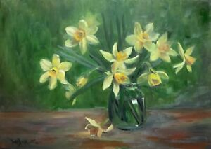 A3 size original oil painting on board Daffodils in a jar.