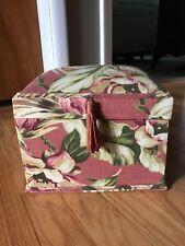 Floral Vintage Style Fabric Padded Sewing Basket Trinket Jewelry Box w/Tassel
