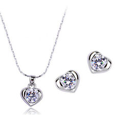 18K WHITE GOLD PLATED & GENUINE CUBIC ZIRCONIA  HEART NECKLACE & EARRING SET