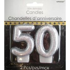 50TH BIRTHDAY PARTY SUPPLIES SILVER GLITTER SPARKLING 50 SHAPED CAKE CANDLE