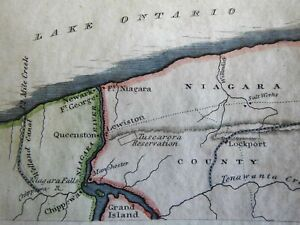 Fort Niagara New York Tuscarora Reservation Lockport 1826 Hooker miniature map