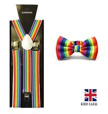 RAINBOW BRACES + BOW TIE Pride Flag Stripes LGBT Circus Clown Geek Suspenders UK