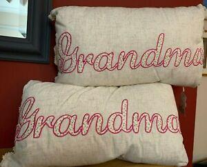 "BNWT Two x Embroidered Cushions - GRANDMA - Ideal Gift  - 20"" x 11"""