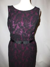 MINUET PETITE BLACK LACE DRESS WITH PINK UNDERLAY UK SIZE 10