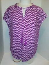 St Johns Bay Womens Plus Size XL Short-sleeve Purple & White Blouse Top V Neck
