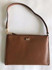 Michael Kors Convertible Leather Clutch Mini Shoulder Bag Acorn, tan, gold