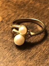 Pearl and Cz Ring Size 5.25 Vintage Fashion Womens Gold Tone Faux