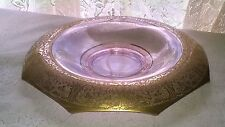Pink Depression Glass Console Centerpiece Fruit Bowl  Etched Gold Rolled Edge EX