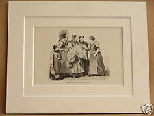 SWISS FEMALE COSTUMES ANTIQUE MOUNTED ENGRAVING FROM c1890 PUBLICATION 10X8