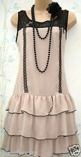 SIZE 14 VINTAGE 20s CHARLESTON FLAPPER DECO GATSBY STYLE NUDE DRESS  US 10 EU 40