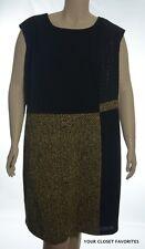 Nine West Dress Women's Plus size 22W Black/Gold Sleeveless