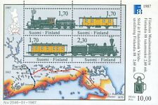 Finland 1987 MNH Sheet - Finlandia 1988 Philately Exhibition - Trains and a Map