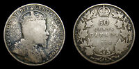 1910 Canada Silver 50 Fifty Cents King Edward VII Toned VG-8