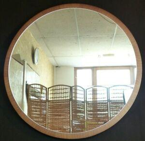 EV21-0052 Rundspiegel midcentury 83 cm groß Spiegel Nussbaum Rahmen 50s 60s