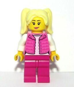 LEGO Female Girl Minifigure Blonde Hair Pink Body Warmer Jacket Reversible Head