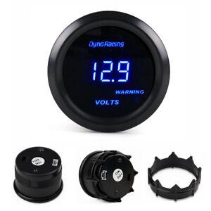"""Universal 2"""" 52mm Blue Digital LED Volt Meter Electronic Voltage Gauge Tint Lens"""