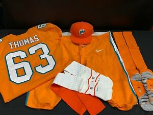 #63 DALLAS THOMAS MIAMI DOLPHINS TEAM ISSUED ORANGE COLOR RUSH JERSEY PANTS SOCK
