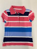 Brand New with Tag Tommy Hilfiger Kids Girls Pink/Blue Stripe Short-Sleeve Polo