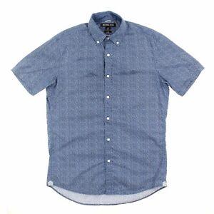 Michael Kors Mens Slim Fit Printed Button Down Shirt (Uniform, Small)