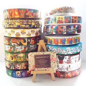 Per Metre Disney / Pixar Cartoon Grosgrain ribbon 22/25mm Party Cake/ Hair Bows