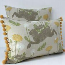 Yellow March Hare Cushion Cover Dandelion Ochre Fabric & Mustard Pom Pom Trim