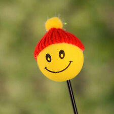 1* Car Antenna Pen Topper Aerial Ball Yellow Happy Smiley ​Face With Wool Hat