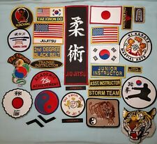 Martial Arts Sew On Patches Lot, Karate, Jujitsu, Tae Kwon Do