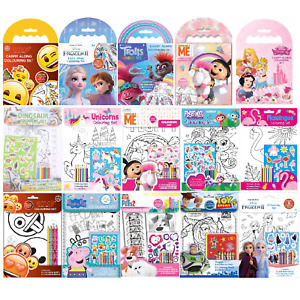 Carry Along Colouring Book Kids Mini Crayon Set Travel Fun Activity Pack Gift