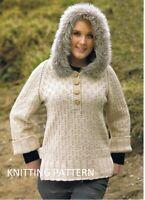 "(482) Ladies Sweater Copy Knitting Pattern in Aran & Faux Fur yarns, up to 48"""