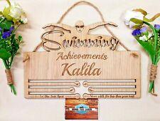 'Swimming Achievements' Personalised Medal Holder Hanger Oak Veneer Swimmer