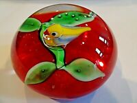 HTF Signed RON HANSEN Art Glass LAMPWORK BIRD & FLORAL Paperweight RED