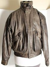 J Riggings Leather Bomber Jacket Mens M Brown Distressed Worn Delta Airlines