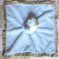 Carter's Puppy Dog Blue Plush Fluffy Tan Baby Boy Security Blanket Rattle Lovey