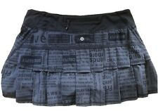LULULEMON Run Pace Setter Skirt size 8 Manifesto Deep Coal Black EUC Tennis Golf