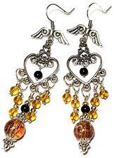 Amber & Black Chandelier Earrings Long Tibetan Silver Style Angel Wing Hook