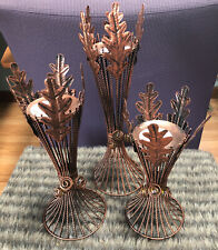 Cracker Barrel Fall/Harvest Metal Wire Wheat Candle Holders (3 pc) Copper Color