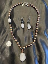 Set Rutilated Quartz & Pearls Peyote Bird Designer Necklace And Earring