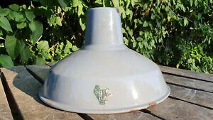 Vintage Old Light Grey Industrial Enamel Pendant Lampshade.