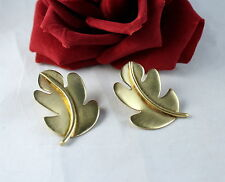 Sterling Silver Vermeil Unique Chinese Leaf Clip on Earrings Feral Cat Rescue