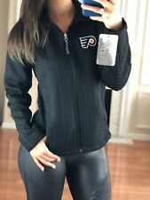 NHL Philadelphia Flyers Embroidered Crossover Textured Jacket, Black, Women's S