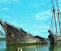 DESTROYED Hesper & Luther Little abandoned schooners Wiscasset ME Vtg Postcard